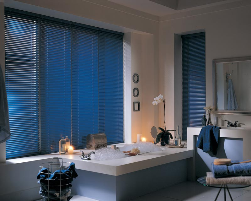 blue blinds in white bathroom