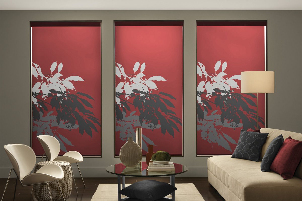 Red blinds with leaves