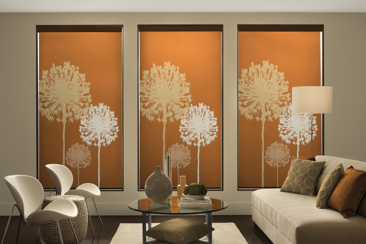 orange blinds with flowers