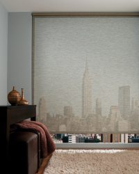 blinds in room looking at NYC