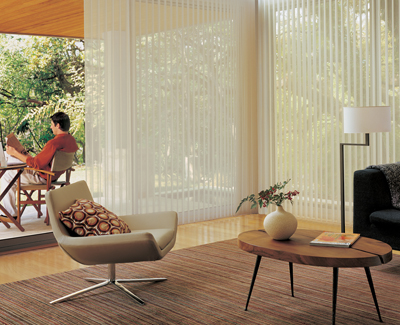 white blinds on tall windows