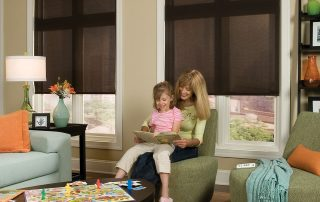 woman & child reading in front of windows with brown shades