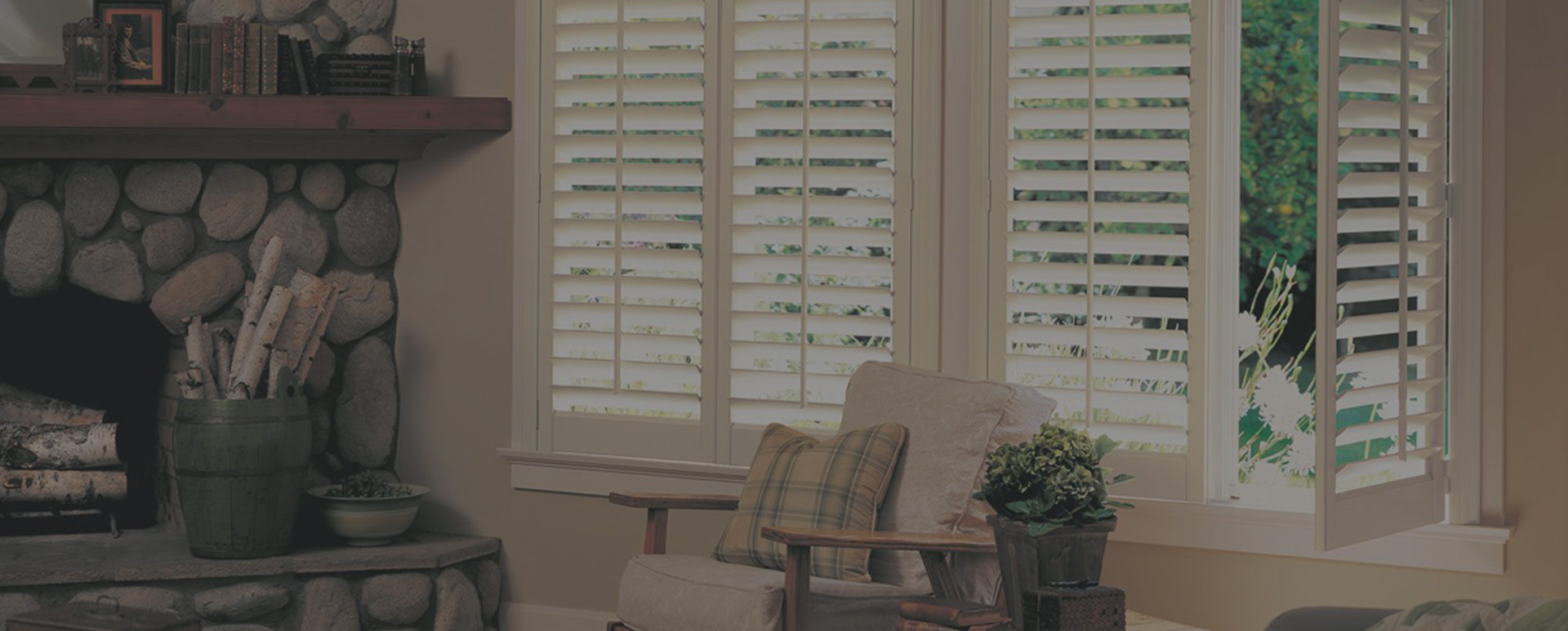 white blinds by fireplace