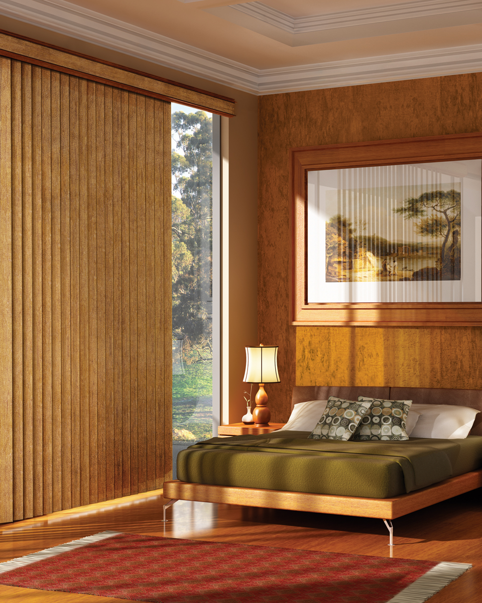 wood blinds in copper bedroom